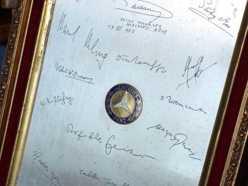Lot 37-Mercedes-Benz Team Signed 'Silver Arrow' Panel, 1955