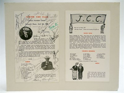 Lot 23-Junior Car Club JCC Brooklands Signed Lunch Menu