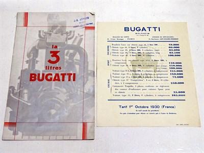Lot 12-A Rare Bugatti Three Litre Sales Brochure, 1929