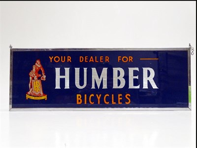 Lot 53 - Humber Cycles Glass Advertising Sign