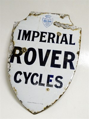 Lot 95 - A Rare Imperial Rover Cycles Enamel Sign, c1910