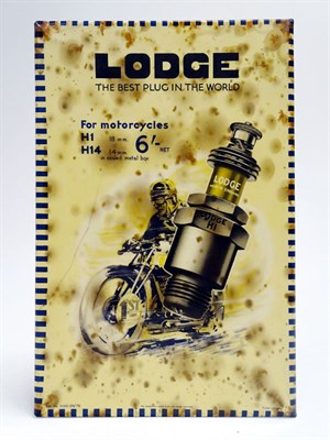 Lot 62 - A Rare Lodge Motorcycle Spark Plugs Celluloid Showcard