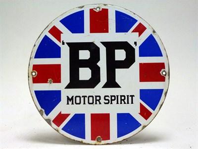 Lot 16 - Circular BP Motor Spirit Union Jack Enamel Sign