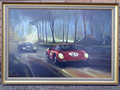 Lot 9-Dion Pears Original Artwork - Ferrari 250LM