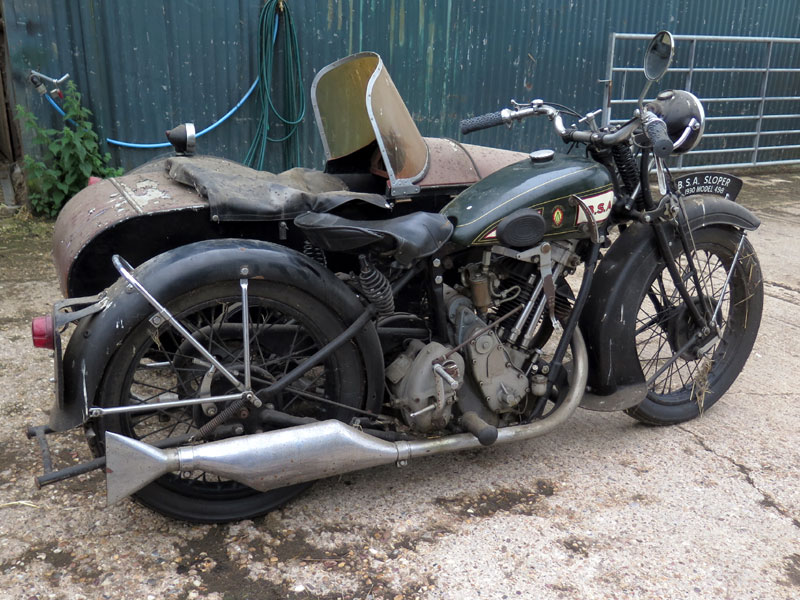 Lot 21-1930 BSA Sloper Combination