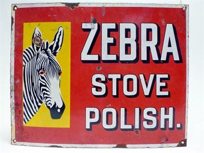 Lot 70 - A Zebra 'Stove Polish' Pictorial Enamel Advertising Sign