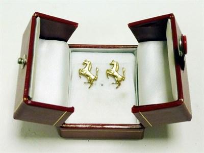 Lot 14 - Solid Gold Ferrari 'Prancing Horse' Earrings