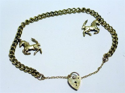 Lot 24 - A Solid Gold Ferrari 'Prancing Horse' Charm Bracelet