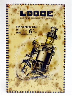 Lot 36 - A Rare Lodge Motorcycle Spark Plugs Celluloid Showcard
