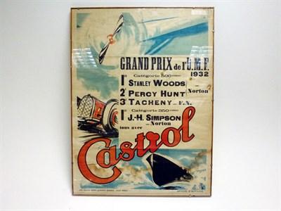 Lot 52 - A Rare Original Castrol Oil Achievements Poster