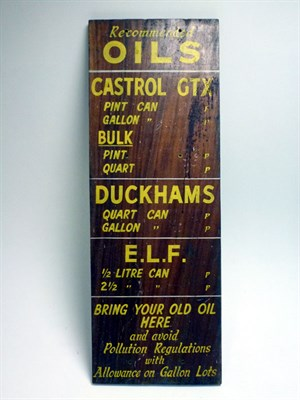 Lot 59 - A Wooden Garage 'Lubrication' Sign