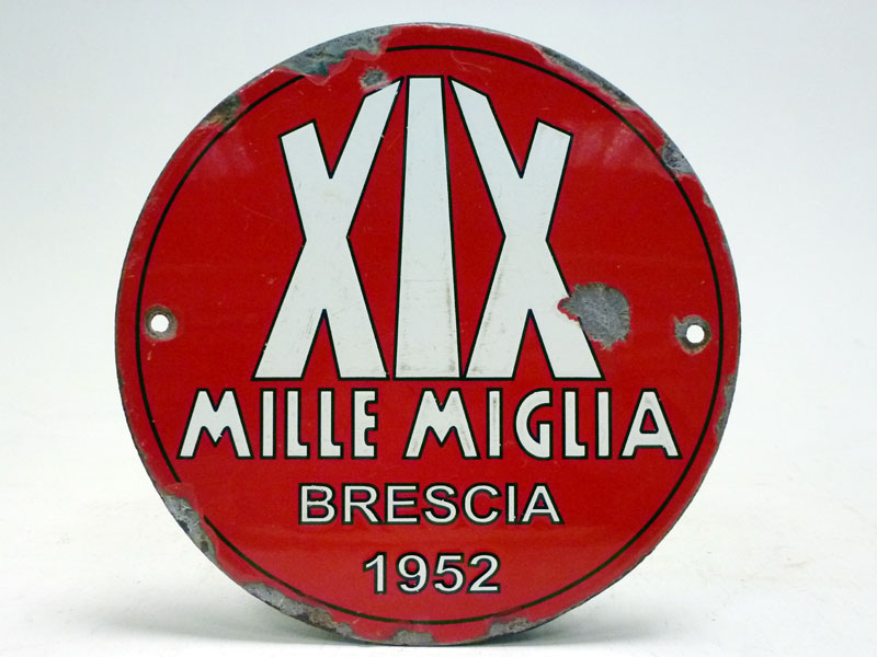 Lot 51-1952 Mille Miglia Control Point / Route Marker Enamel Sign