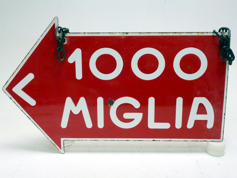 Lot 54-A Rare Mille Miglia Double-Sided Enamel Sign