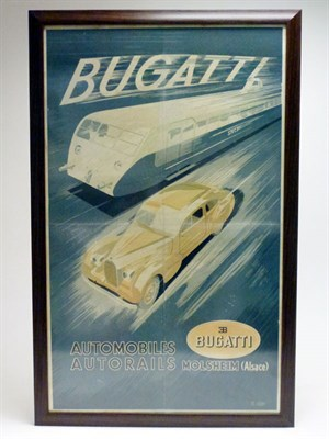 Lot 74-An Original Art-Deco Bugatti Advertising Poster
