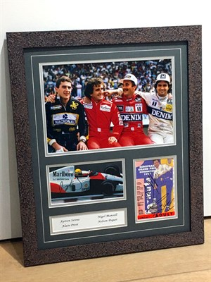 Lot 24-Senna, Prost, Mansell and Piquet Signed Presentation