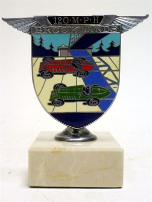 Lot 42-A Brooklands '120 MPH' Enamel Car Badge