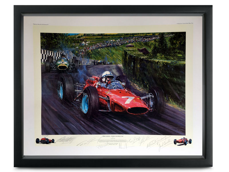 Lot 60-John Surtees, Ferrari 158, by Nicholas Watts (Multi-signed)
