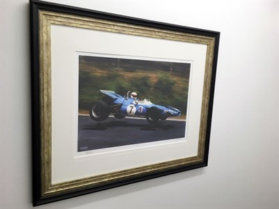 Lot 13-Jackie Stewart Signed 'Nurburgring 1969', Framed A/P Print