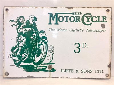 Lot 6-'The Motorcycle' Newspaper Pictorial Enamel Sign