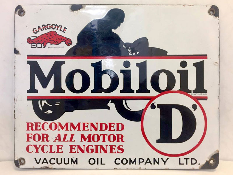 Lot 7-Mobiloil 'D' Motorcycle Oil Enamel Sign