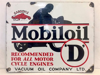 Lot 7-Mobiloil 'D' Motorcycle Oil Enamel Sign