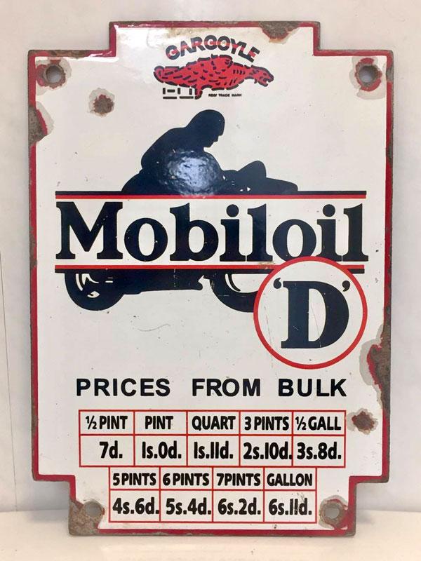Lot 8-A Mobiloil 'D' Enamel Advertising Sign