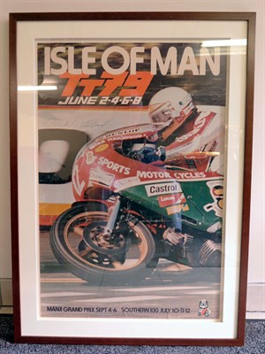 Lot 14-Mike Hailwood 1979 Isle of Man TT Signed Poster