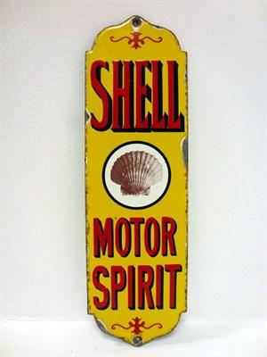 Lot 31-Shell 'Motor Spirit' Finger Plate Enamel Sign