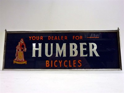 Lot 55-Humber Cycles Glass Advertising Sign