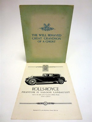 Lot 21 - Rolls-Royce Sales Brochures