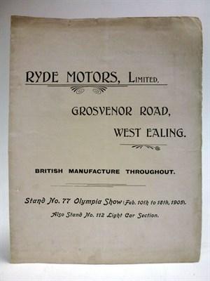 Lot 86-A Rare Sales Leaflet for Ryde Motors, 1905