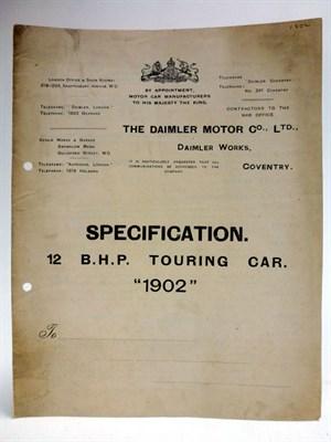 Lot 88 - A Rare Sales Leaflet for Daimler Motors, 1902