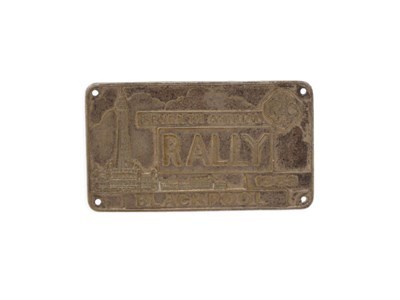 Lot 24-1938 Blackpool RAC Rally Competitor's Plaque