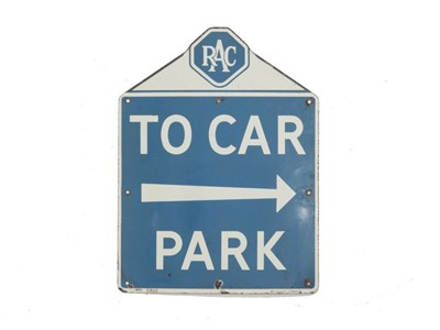 Lot 25-An RAC 'To Car Park' Enamel Sign