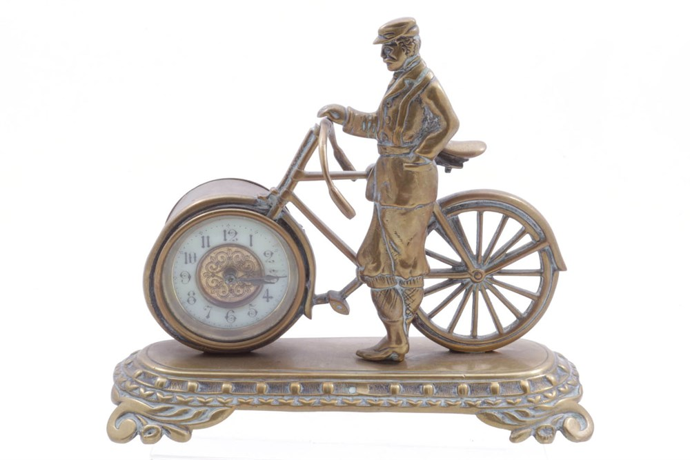 Lot 78-An Unusual Brass Figurine Featuring a Cyclist